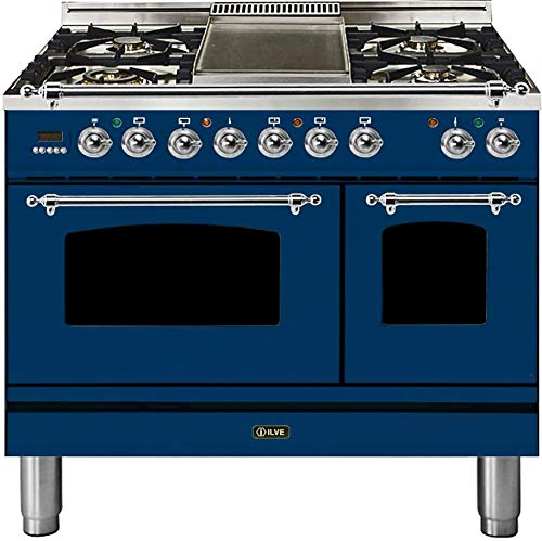 Ilve UPDN100FDMPBLXLP Nostalgie Series 40 Inch Dual Fuel Convection Freestanding Range, 5 Sealed Brass Burners, 4 cu.ft. Total Oven Capacity in Blue, Chrome Trim (Liquid Propane)