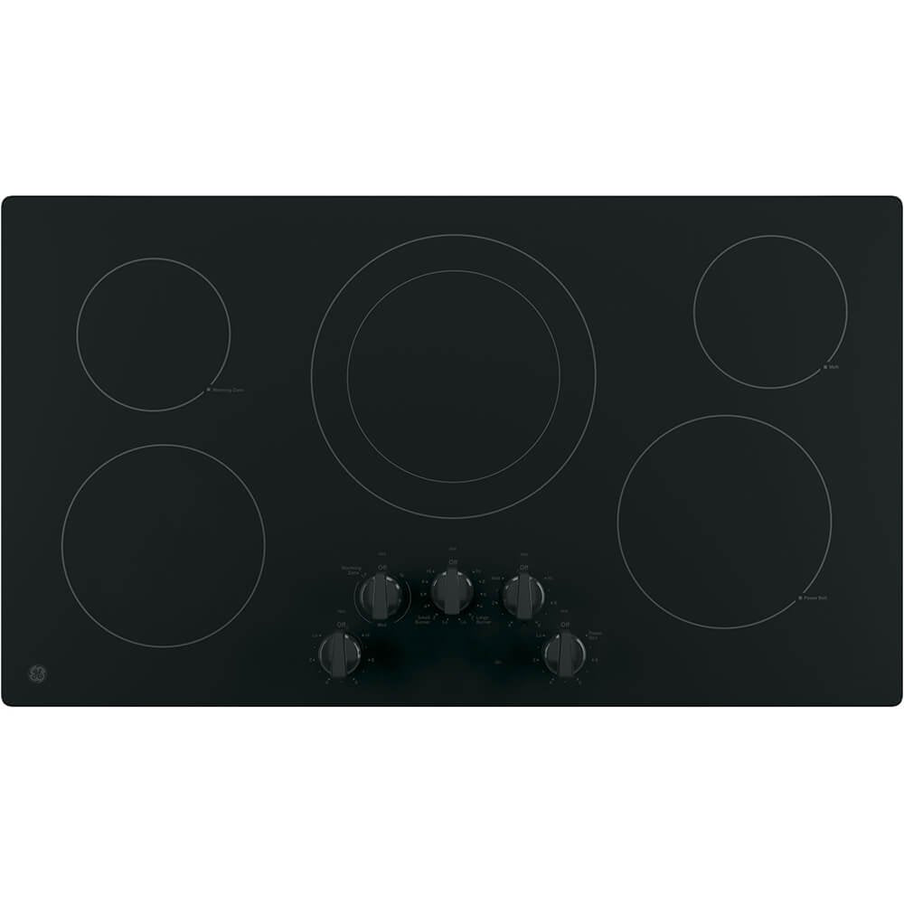 "GE JP3036DLBB 36"" Electric Cooktop with 5 Elements, Smoothtop Style, Keep Warm Zone, Hot Indicator, ADA Compliant, UL Safety Listed, Glass Ceramic Surface"