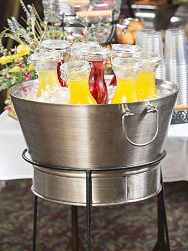 "Tablecraft 20"" Stainless Steel Beverage Tub with Black Stand 