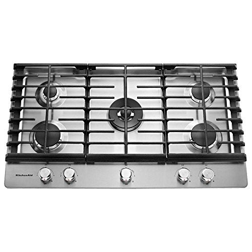KitchenAid  36'' 5-Burner Gas Cooktop Stainless Steel KCGS556ESS