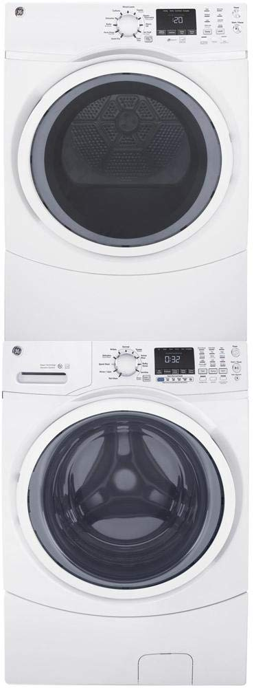 "GE Front Load Steam GFW450SSMWW 27"" Washer with GFD45ESSMWW 27"" Electric Dryer and GEFLSTACK Stacking Kit Laundry Pair in White"