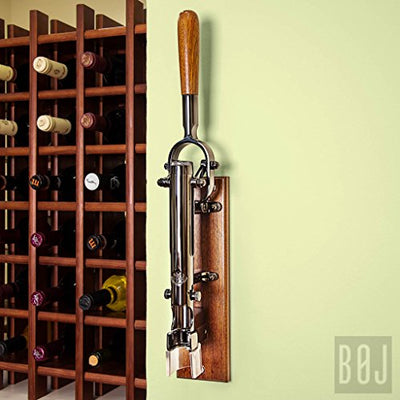BOJ Professional Wall Mounted Wine Bottle Opener US with Wood Backing (Black Nickeled)