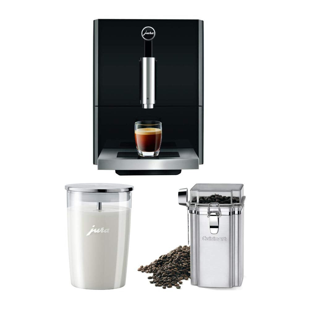 Jura A1 Ultra Compact Coffee Center 15148 with PEP, Piano Black, Includes Glass Milk Container and Bean Canister Bundle (3 Items)