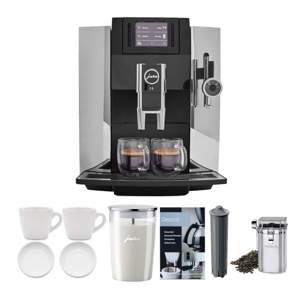 Jura 15097 E8 Smart Espresso Coffee Machine, Chrome Includes Milk Container, Bean Container, Descaler, Filter and 2 Cups (7 Items)