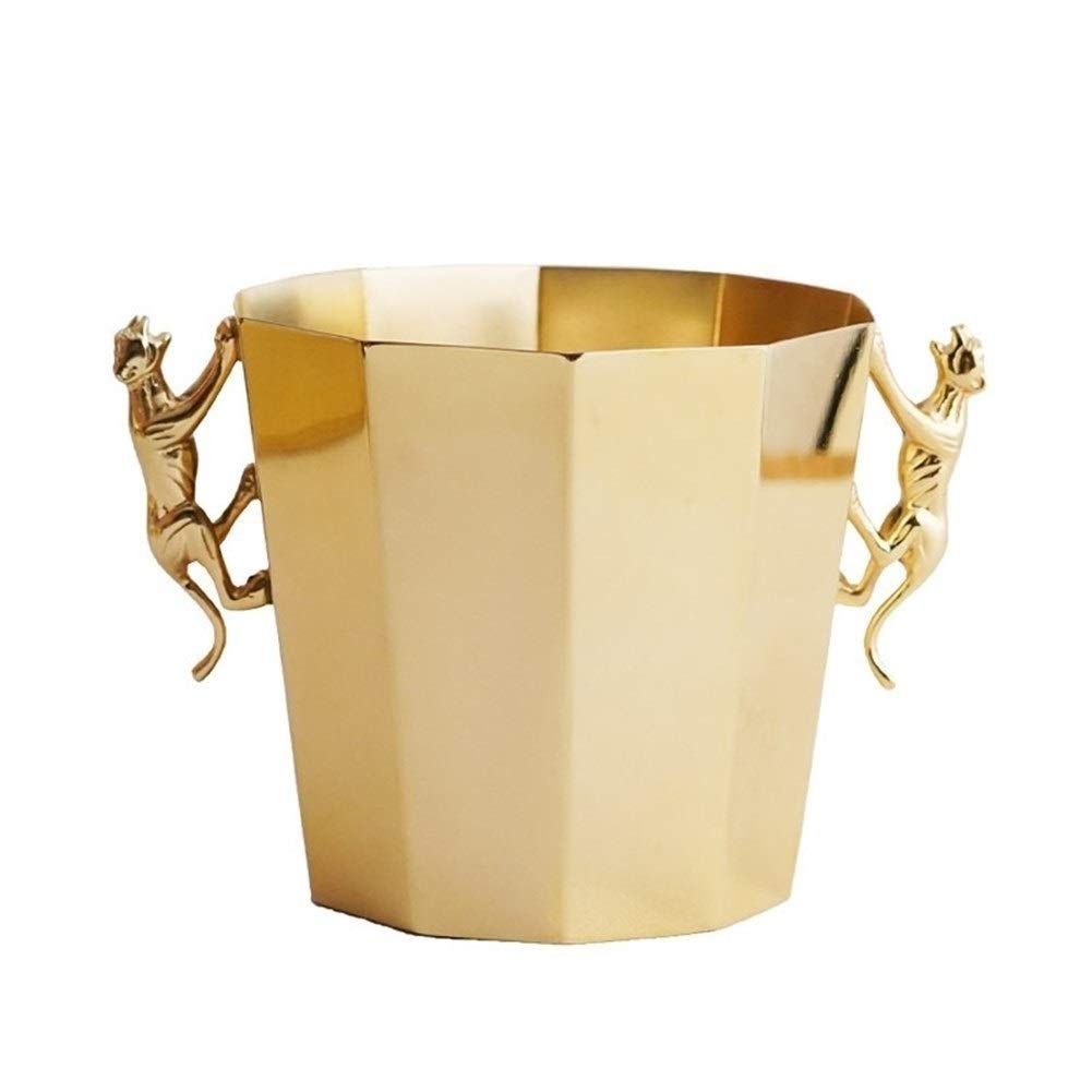 CHEN-S Wine Chiller Bucket - Insulated Wine Cooler/Champagne Bucket, European Golden Cheetah Decorative Ice Bucket Home Model Creative Wine