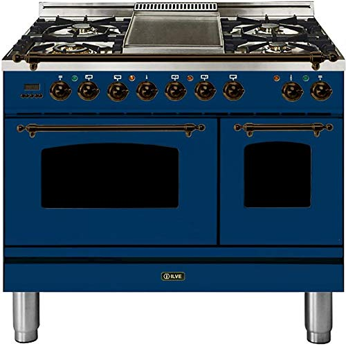 Ilve UPDN100FDMPBLY Nostalgie Series 40 Inch Dual Fuel Convection Freestanding Range, 5 Sealed Brass Burners, 4 cu.ft. Total Oven Capacity in Blue, Bronze Trim (Natural Gas)