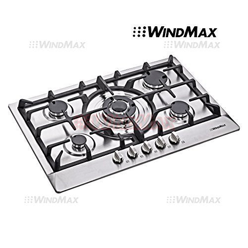 WindMax Euro Style 30 in Stainless Steel 5 Burner Built-In Stoves NG LPG Gas Cooktops