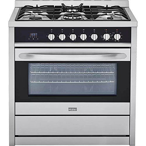 "Haier HCR6250AGS 36"" Gas Range with 5 Sealed Burners 3.8 cu. ft. Oven Capacity Tripe Ring Burner Convection Broil Digital Clock and Cast Iron Grates in Stainless"