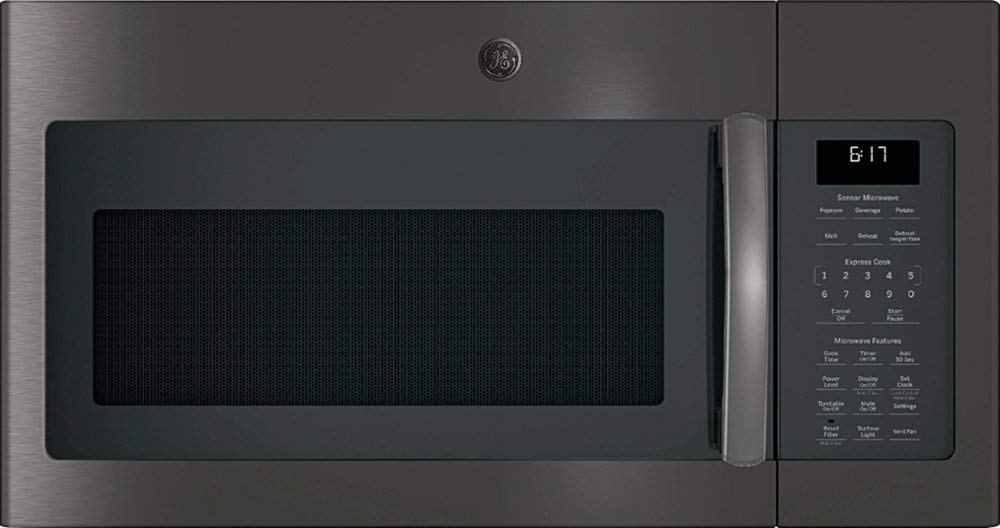 GE - 1.7 Cu. Ft. Over-the-Range Microwave - Black stainless steel-Model:JVM6175BLTS