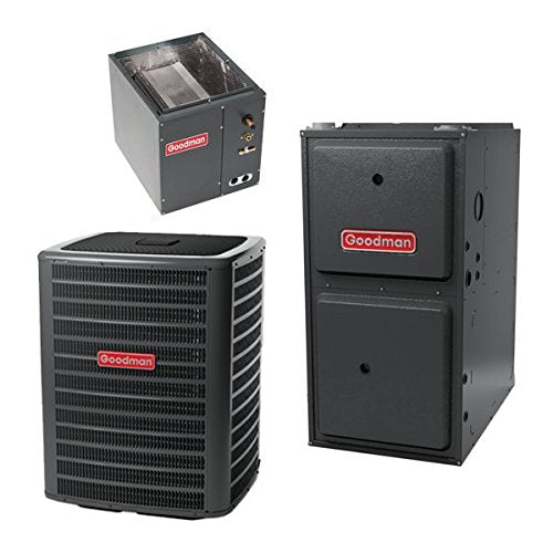 Goodman 2.5 Ton 15 Seer Air Conditioning System with 60,000 BTU 96 Percent AFUE Upflow Gas Furnace