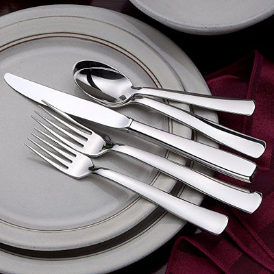 Liberty Tabletop Modern America 65-piece 18/10 Flatware Set for 12, Includes Serving Pieces Made in USA