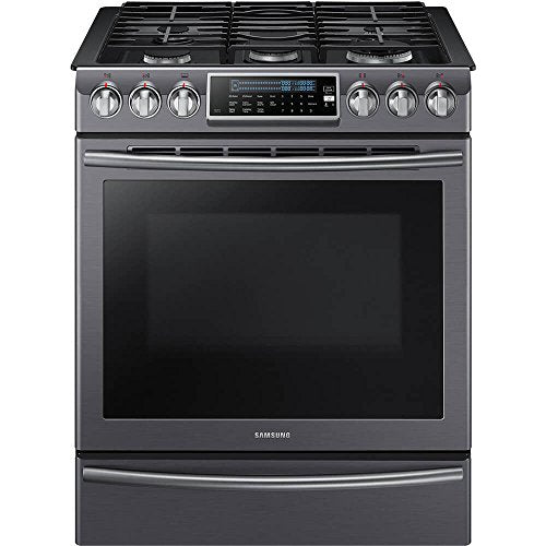 "Samsung 30"" Black Stainless Steel Slide-In Convection Gas Range"