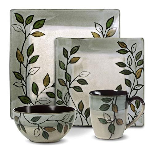 Pfaltzgraff Rustic Leaves Square Dinnerware Set (48 Piece)