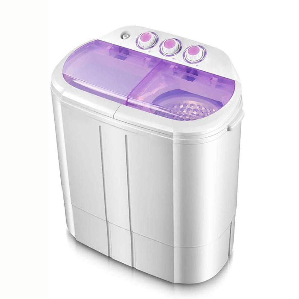 KYL 3.5KG Mini Twin Tub Washing Machine, Cylinder Semi Automatic Household Small Mini Washing Machine, with Dehydrated Dried, Easily Operate, Space Saving (Color : Purple)