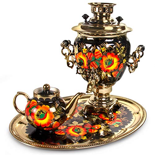 Electric Samovar Set ''Poppies'' with Tray & Teapot. Samovar Tea Maker.