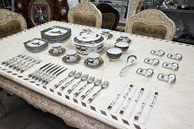 Royalty Porcelain Greek Key Horse Cheval 75-pc Large Dinner and Sushi set, Service for 6, Vintage Luxury dinnerware banquet set in a case