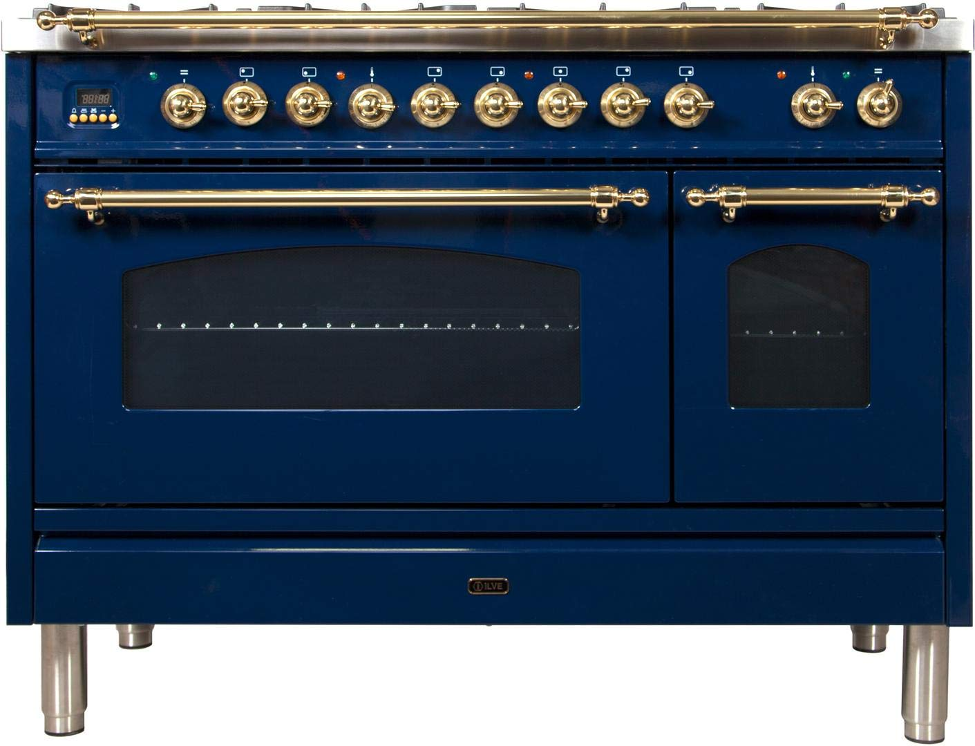 Ilve UPN120FDMPBL Nostalgie Series 48 Inch Dual Fuel Convection Freestanding Range, 7 Sealed Brass Burners, 5 cu.ft. Total Oven Capacity in Blue, Brass Trim (Natural Gas)