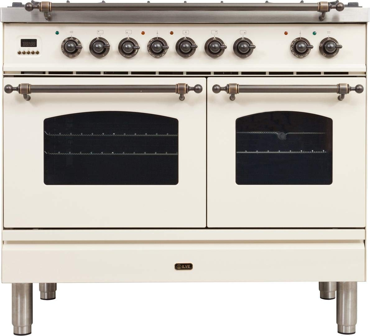 Ilve UPDN100FDMPAYLP Nostalgie Series 40 Inch Dual Fuel Convection Freestanding Range, 5 Sealed Brass Burners, 4 cu.ft. Total Oven Capacity in Antique White, Bronze Trim (Liquid Propane)