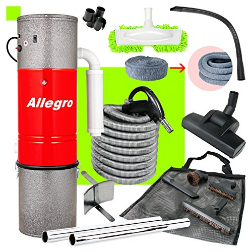 Central Vacuum Unit Allegro 3,000 sq. ft. with 30' Straight Air Attachment VAC Set