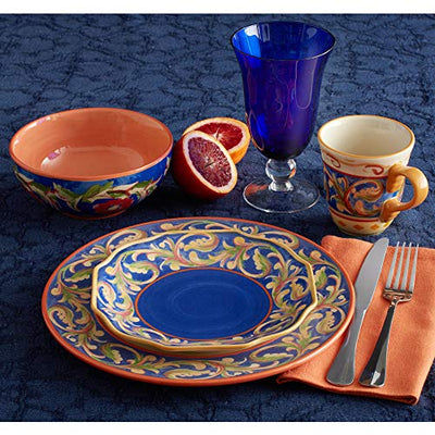 Pfaltzgraff Villa Della Luna Blue 48 Piece Dinnerware Set, Service for 12
