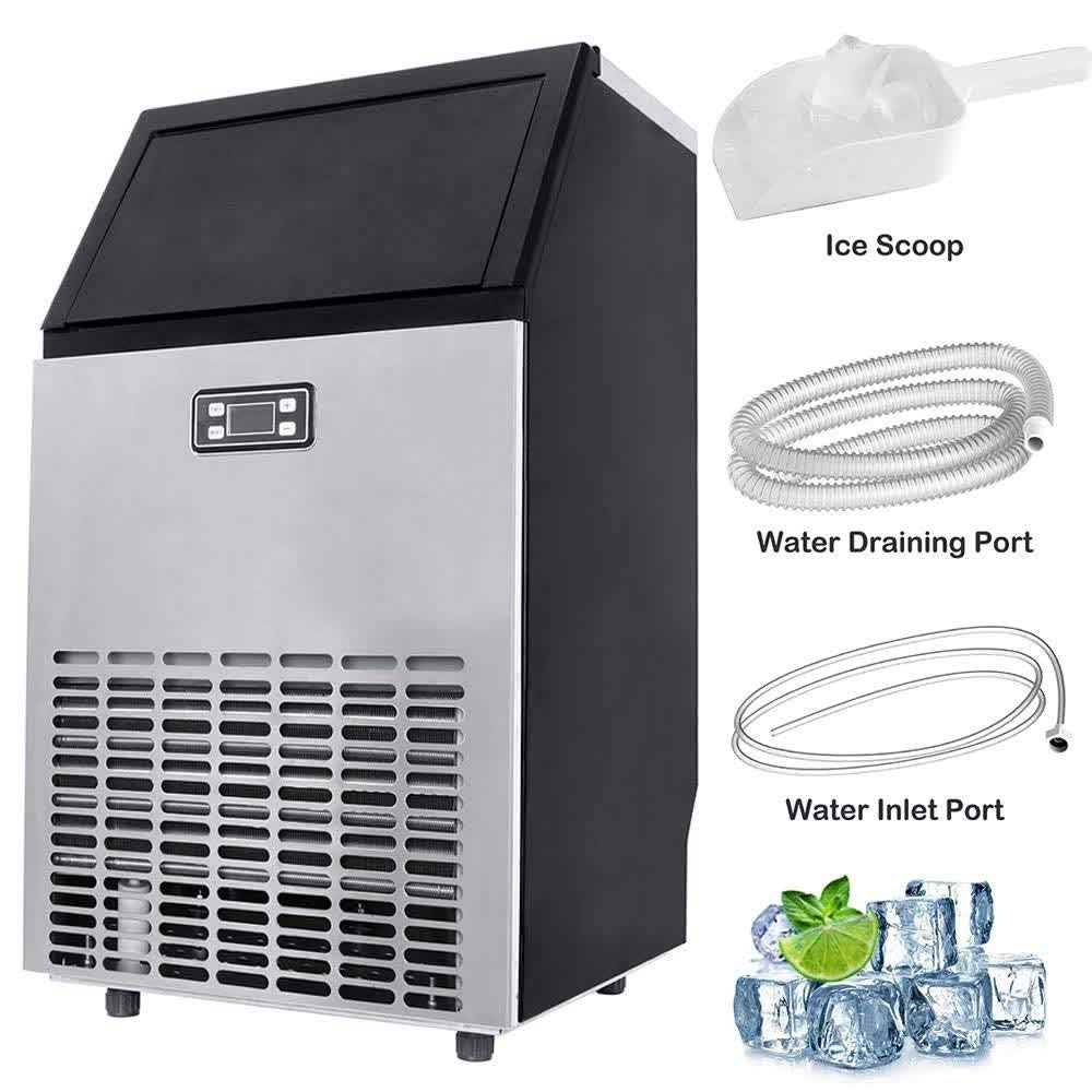 Commercial Ice Machine 100lbs/24h with 33lbs Storage, 45 Ice Cubes Ready in 12-18 Mins Freestanding Large Stainless Steel Ice Maker for Restaurant/Bar/Supermarkets