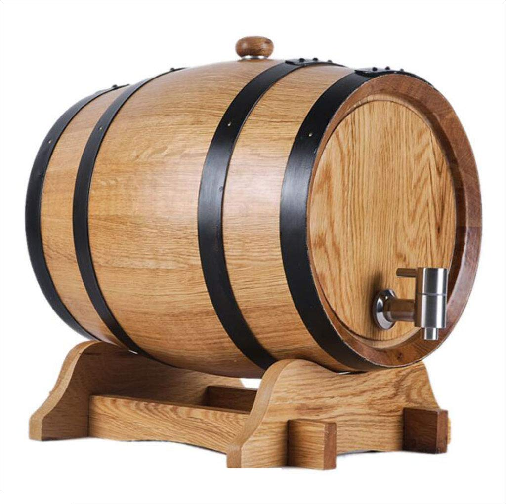 GX Multifunctional wine barrel Wine Barrel of Oak, 5L-10L White wine Barrel of red Wine Home Decoration Barrel of wine Barrel of Beer Wood Color (Size : 5L)