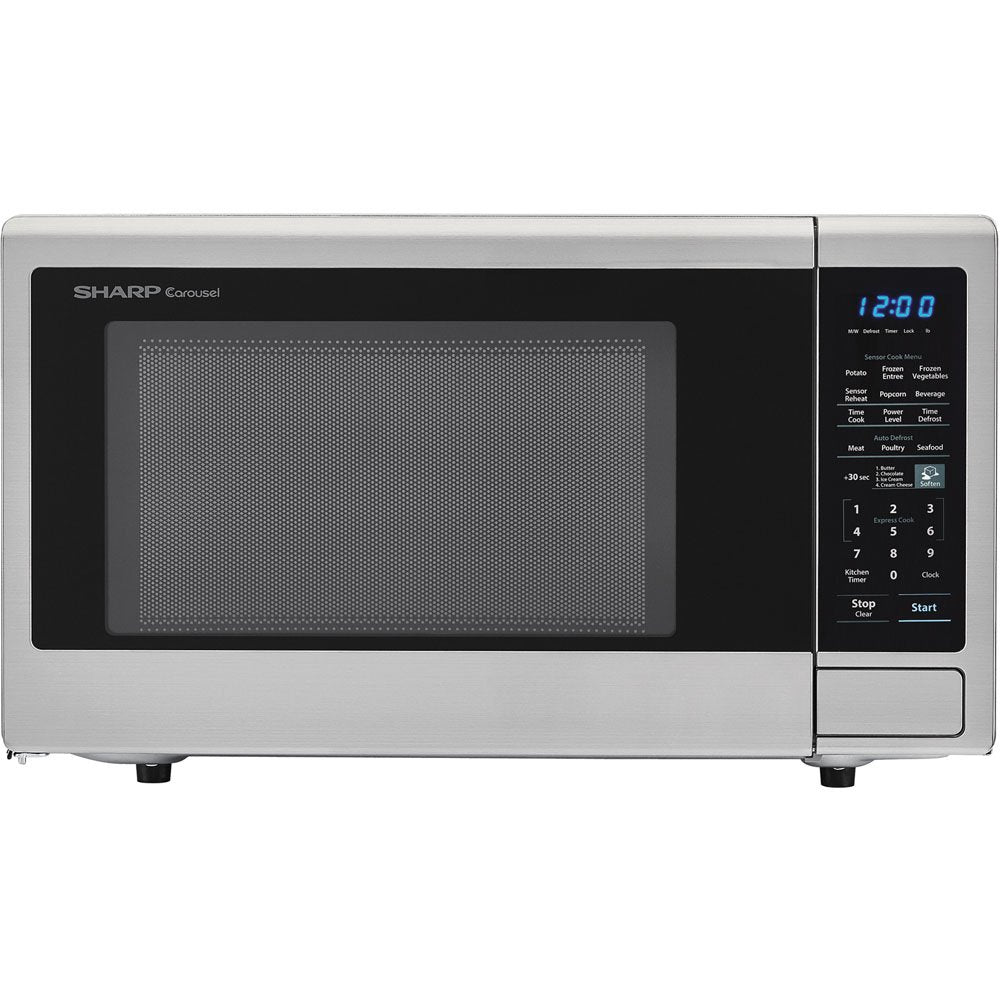 "Sharp SMC1842CS 24"" Countertop Microwave with 1.8 cu. ft. Capacity, 1100 Watts, 15"" Turntable, Softening Function Blue LED Display, in Stainless Steel"