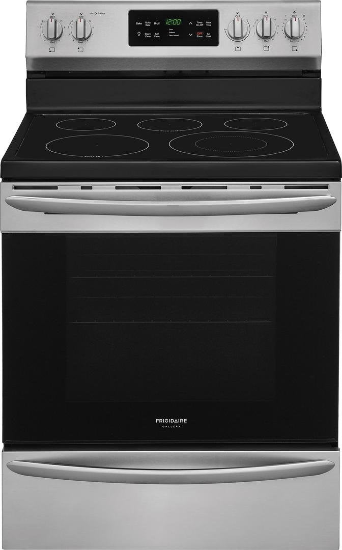 "Frigidaire FGEF3036TF 30"" Gallery Series Electric Range with 5.4 Cubic. ft. Capacity, Steam Clean, Fan Convection, in Stainless Steel"