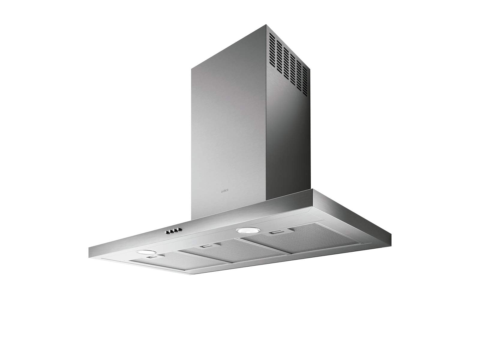"36"" Stainless Steel Flat Wall Mount Range Hood with Black Glass Front Panel"