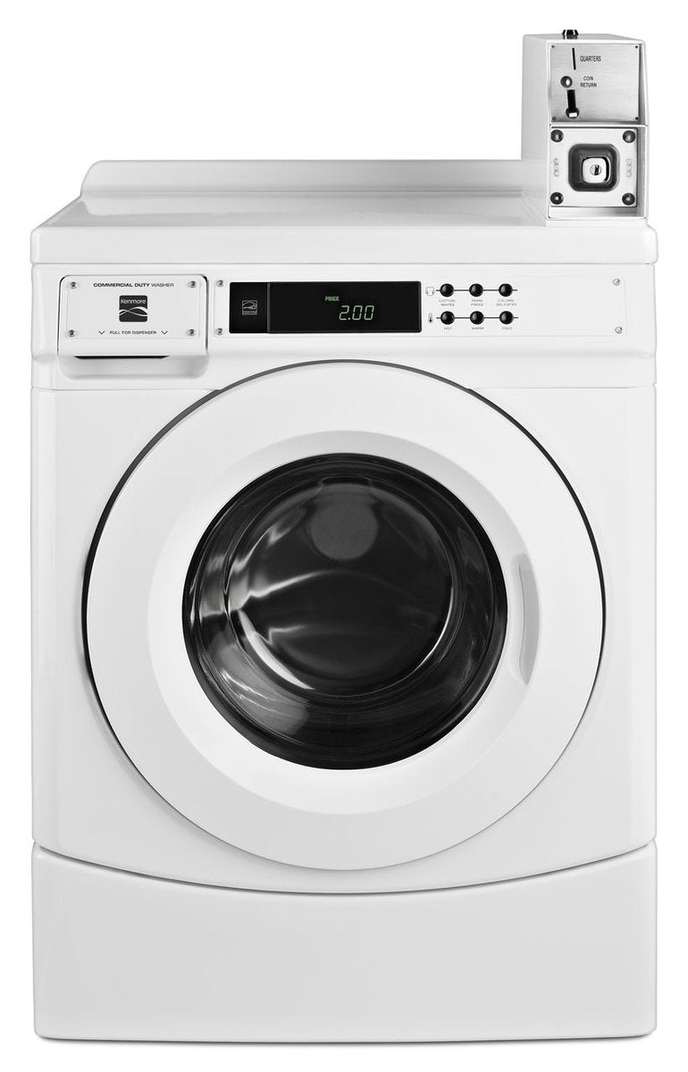 "Kenmore 41952 27"" Commercial Front-Load Washer with Coin Box, White"