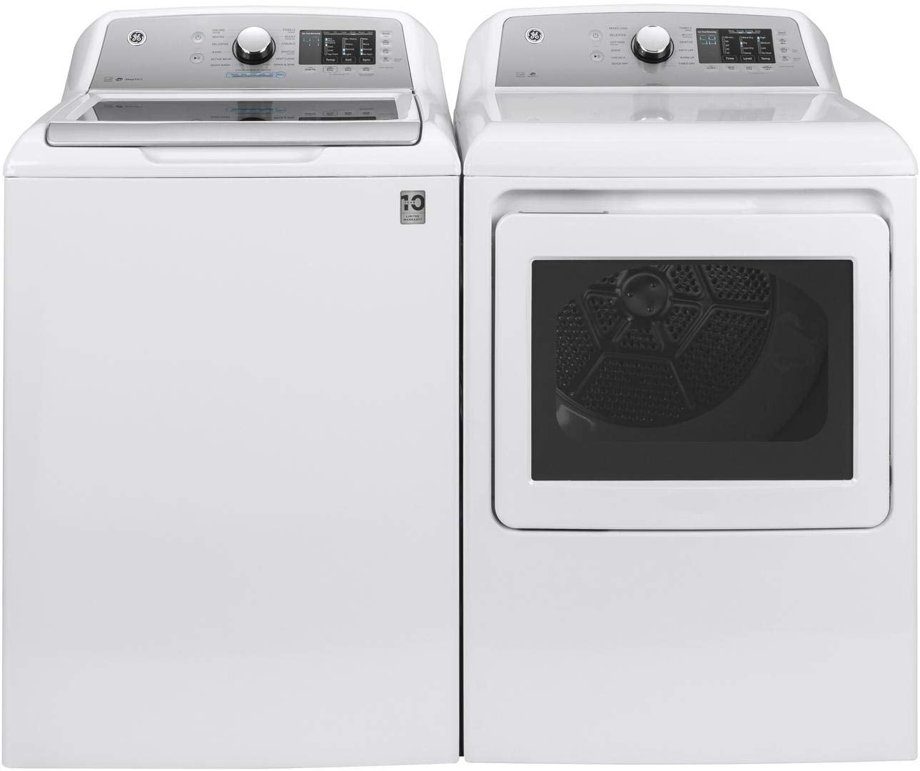 "GE Top Load Laundry Pair with GTW720BSNWS 27"" Washer and GTD72EBSNWS 27"" Electric Dryer in White"