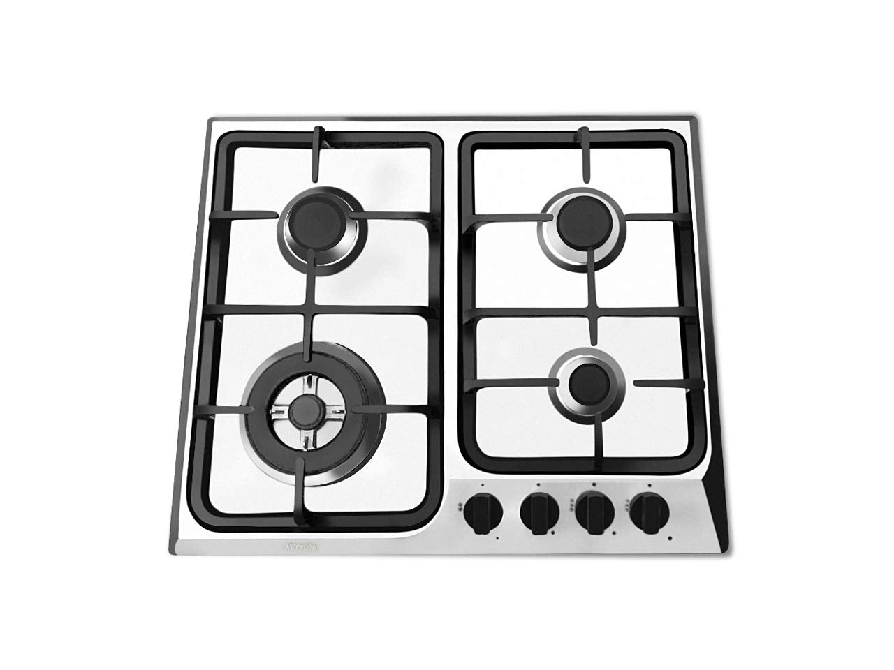 "Ancona AN-21409 24"" Gas Cooktop, Stainless Steel"
