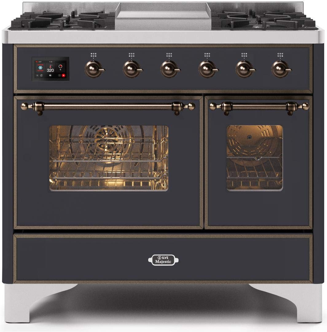 Ilve UMD10FDNS3MGB Majestic II Series 40 Inch Dual Fuel Convection Freestanding Range, 5 Sealed Brass Burners, 3.88 cu.ft. Total Oven Capacity in Matte Graphite, Bronze Trim (Natural Gas)