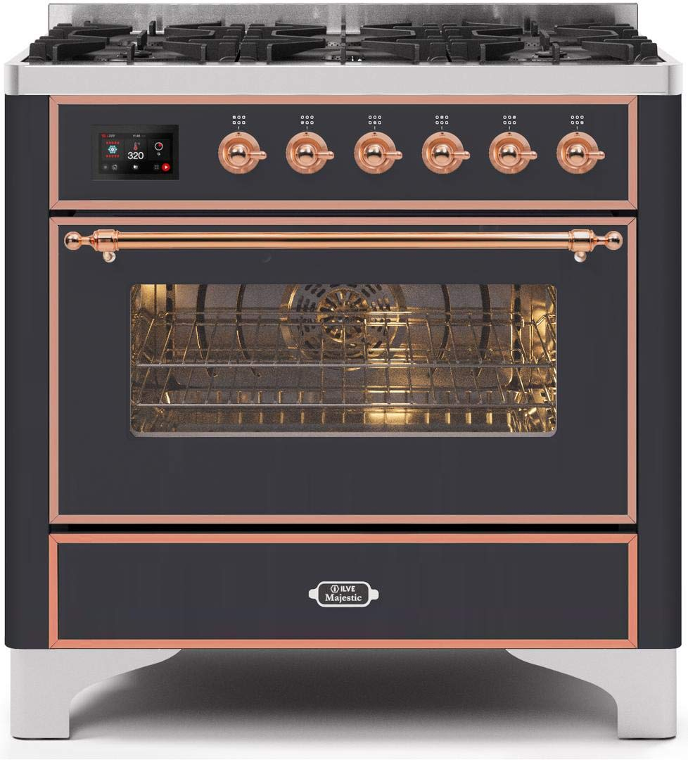 Ilve UM096DNS3MGP Majestic Series 36 Inch Freestanding Dual Fuel Range with Sealed Brass, 3.55 cu.ft. Total Oven Capacity in Matte Graphite, Copper Trim (Natural Gas)