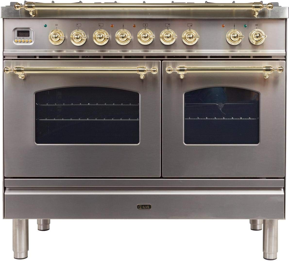 Ilve UPDN100FDMPILP Nostalgie Series 40 Inch Dual Fuel Convection Freestanding Range, 5 Sealed Brass Burners, 4 cu.ft. Total Oven Capacity in Stainless Steel, Brass Trim (Liquid Propane)
