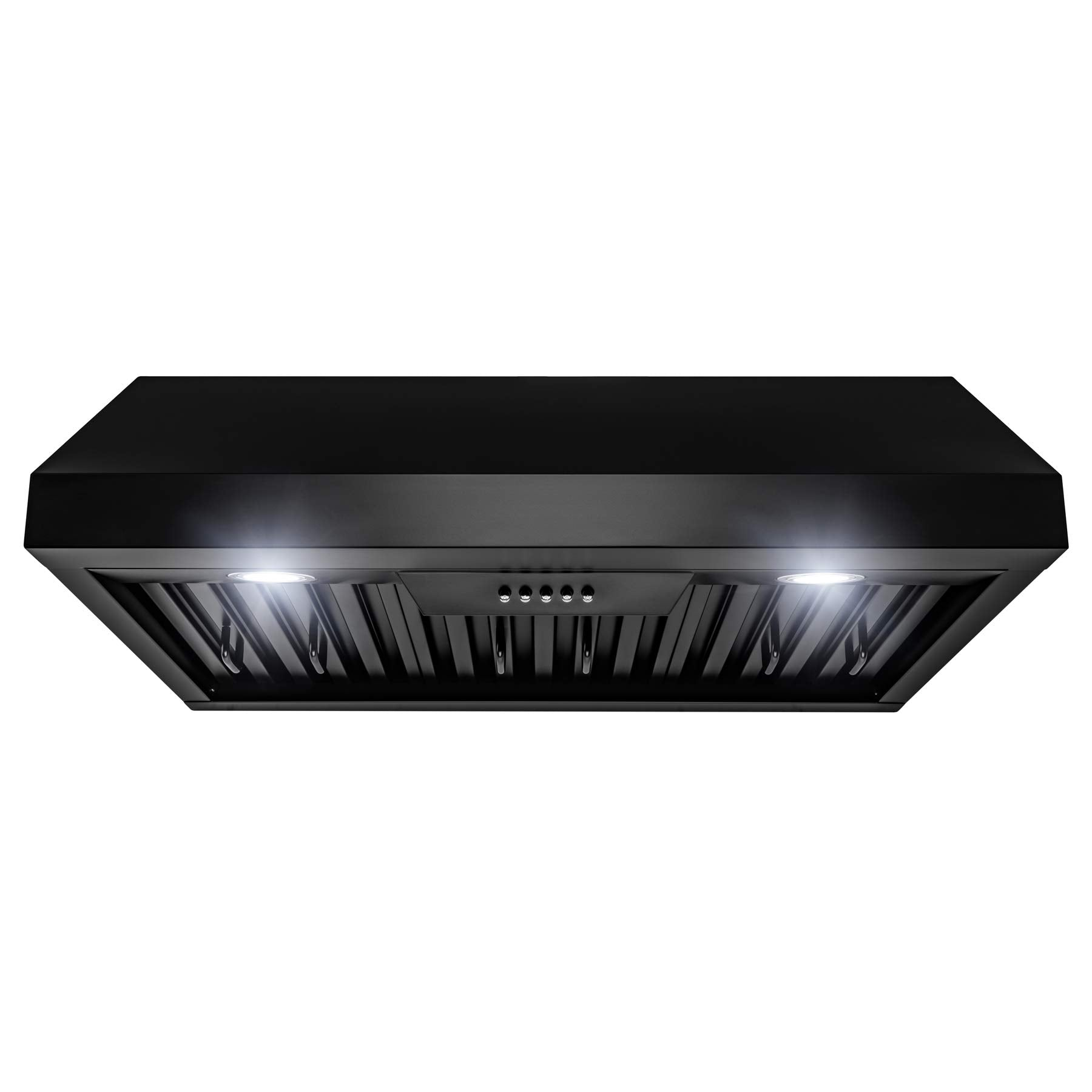 AKDY 30 in. 500 CFM Ducted Under Cabinet Range Hood in Black Painted Stainless Steel with LEDs and Push Buttons