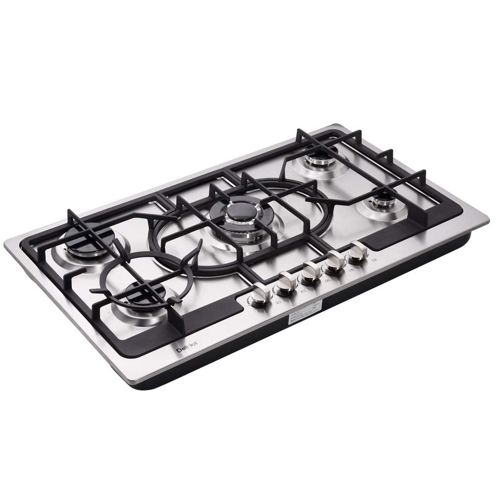 Deli-Kit DK258-A04 34 inch Gas Cooktop gas hob stovetop 5 burners LPG/NG Dual Fuel 5 Sealed Burners Stainless Steel 5 Burner Built-In gas hob 110V AC pulse ignition gas stove