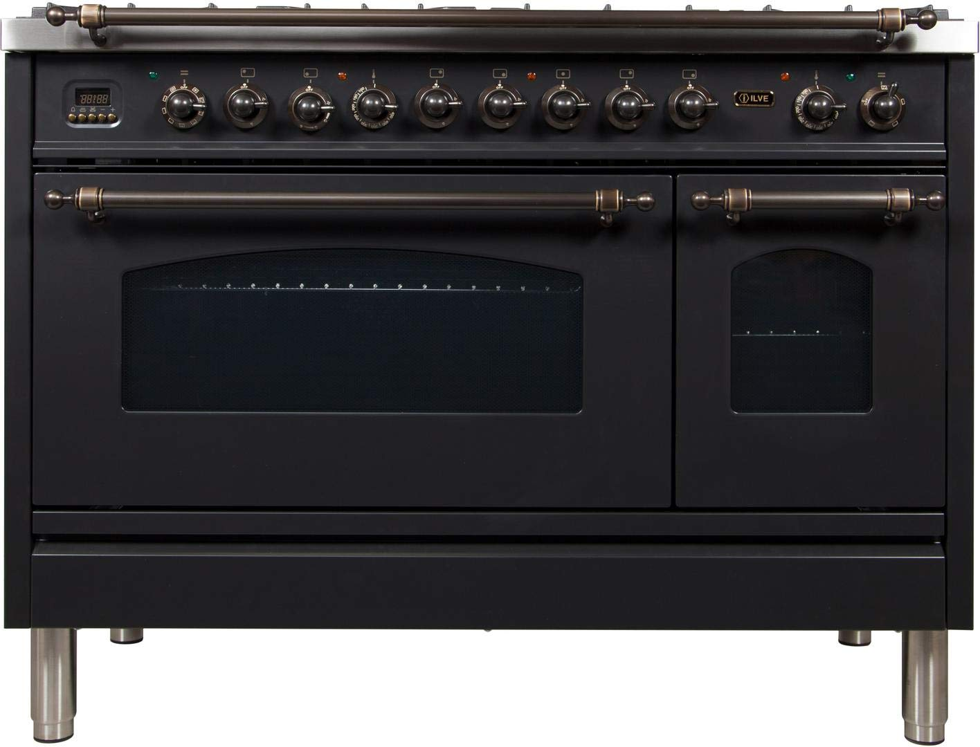 Ilve UPN120FDMPMY Nostalgie Series 48 Inch Dual Fuel Convection Freestanding Range, 7 Sealed Brass Burners, 5 cu.ft. Total Oven Capacity in Matte Graphite, Bronze Trim (Natural Gas)
