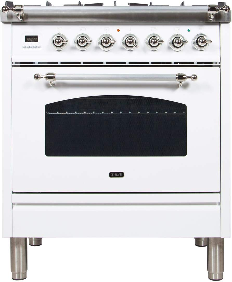 Ilve UPN76DMPBX Nostalgie Series 30 Inch Dual Fuel Convection Freestanding Range, 5 Sealed Brass Burners, 3 cu.ft. Total Oven Capacity in White, Chrome Trim (Natural Gas)