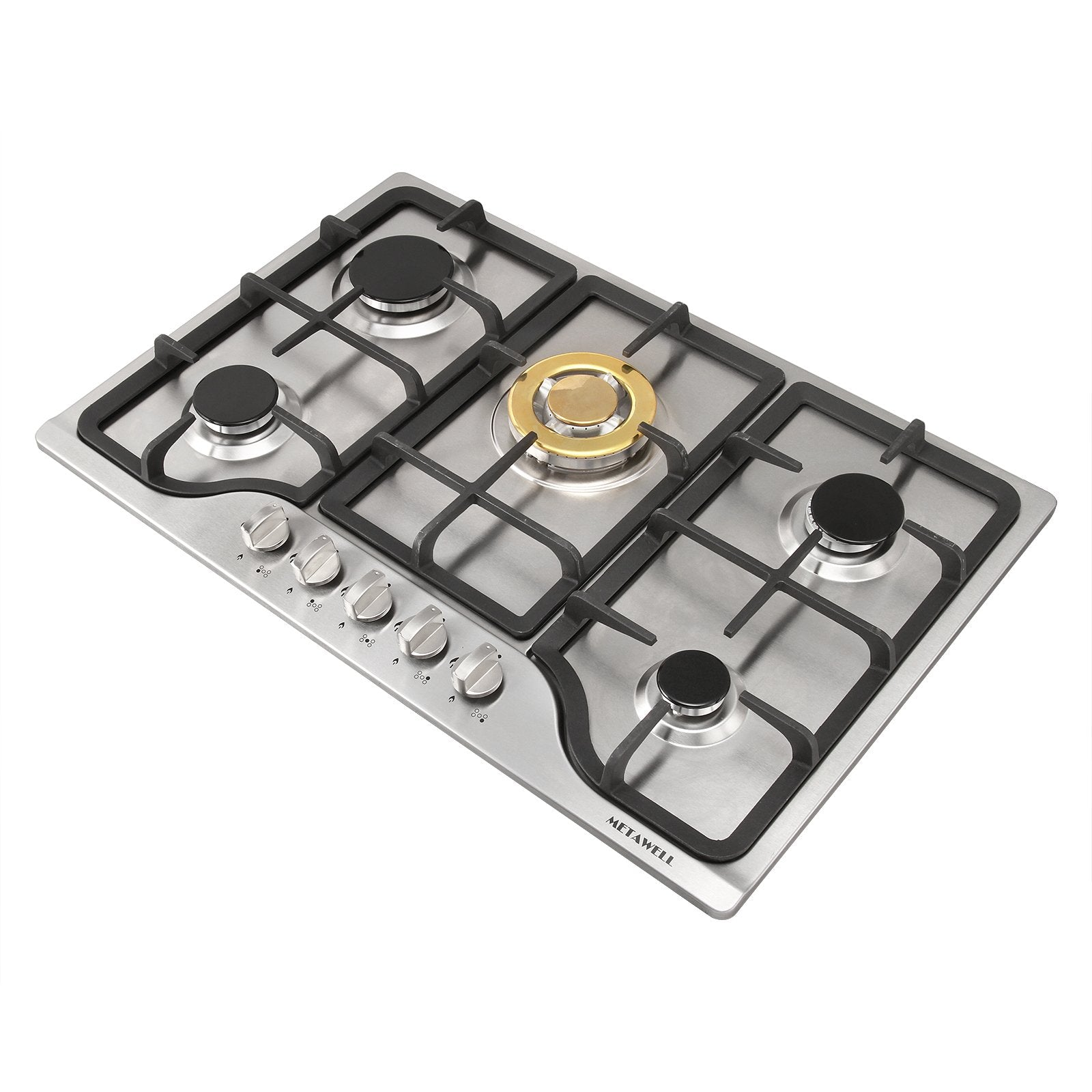 "METAWELL New 30"" Stainless Steel 5 Burners Cooktops Built-in Stoves Natural Gas Hob Cooker"