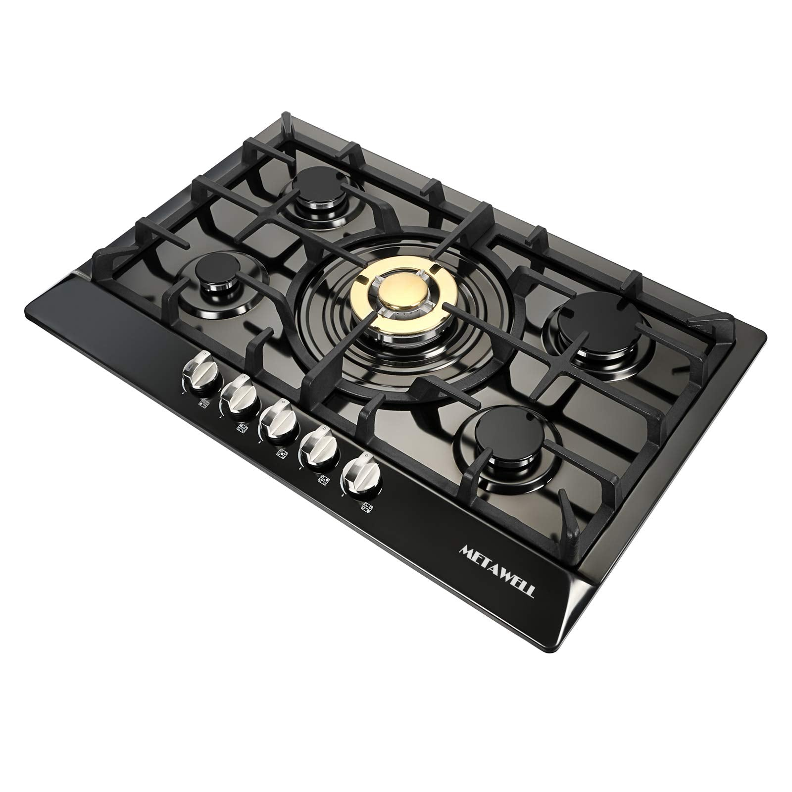 [Ship from CA,USA] METAWELL Black & Gold 30 Inch Stainless Steel 5 Burner Built-In Stove Natural Gas Cooktop
