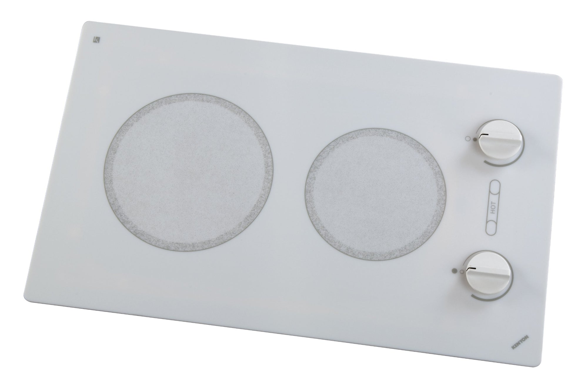Kenyon B49510 6-1/2 and 8-Inch Alpine 2-Burner Cooktop with Analog Control UL, 120-volt, White