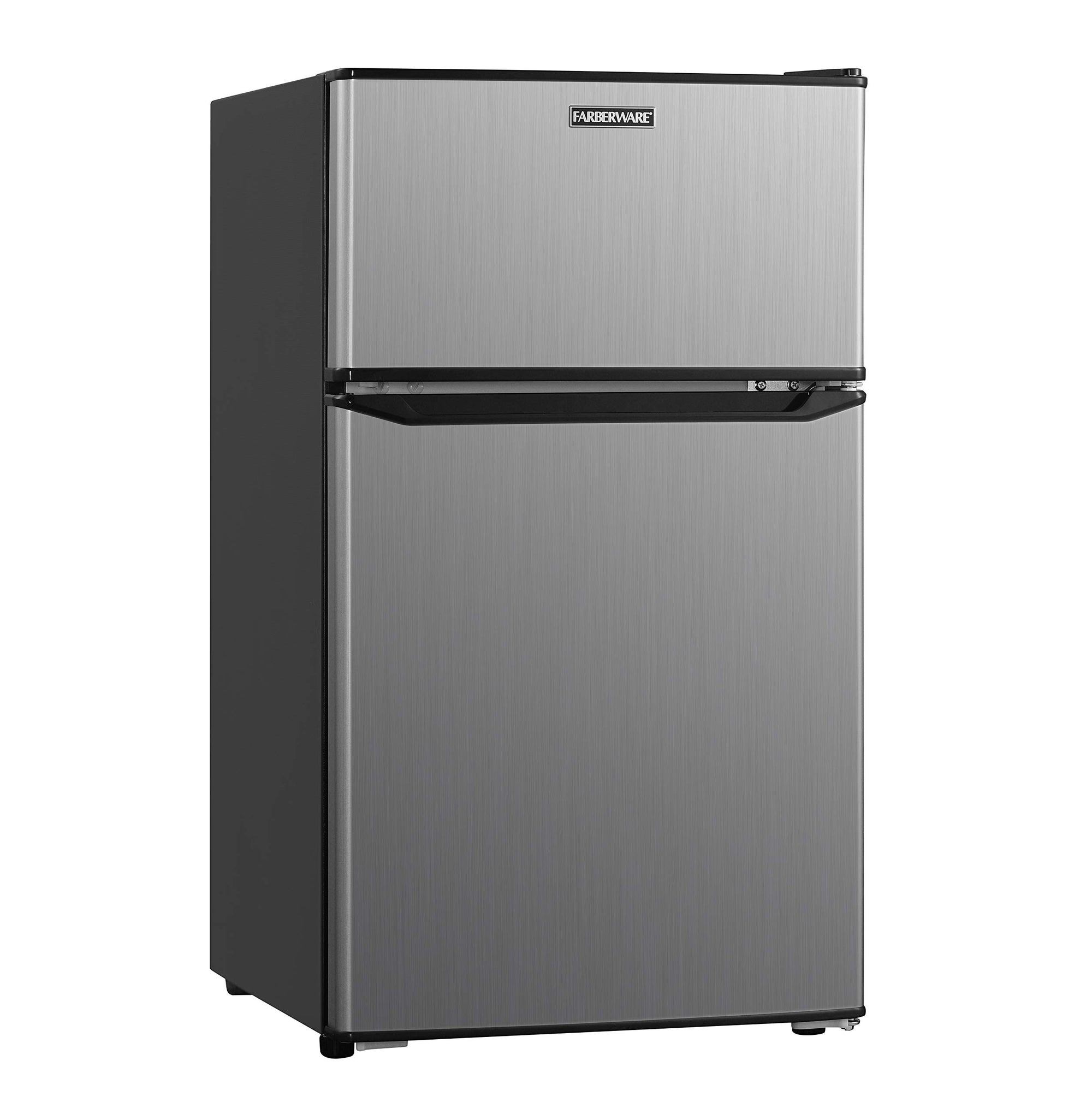 Farberware Classic  FCR31DCVBKB 3.1 Cu. Ft. Double Door Compact Refrigerator with Freezer Compartment, Energy Star and LED Lighting - Perfect for Office, Dorm or an Apartment, VCM Stainless Look