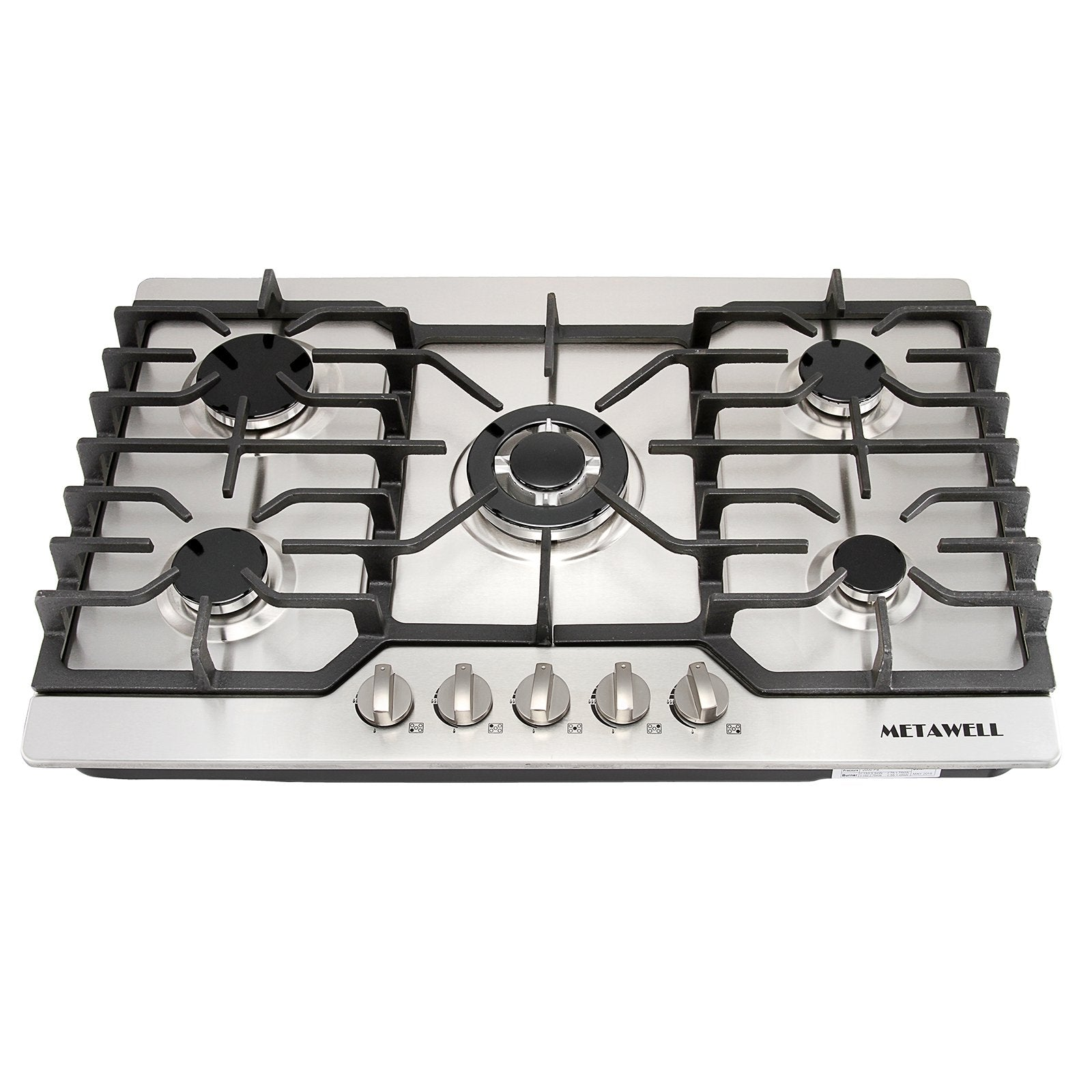 "METAWELL 30"" Stainless Steel Gold Burner Built-in 5 Stoves Natural Gas Cooktops Cooker"