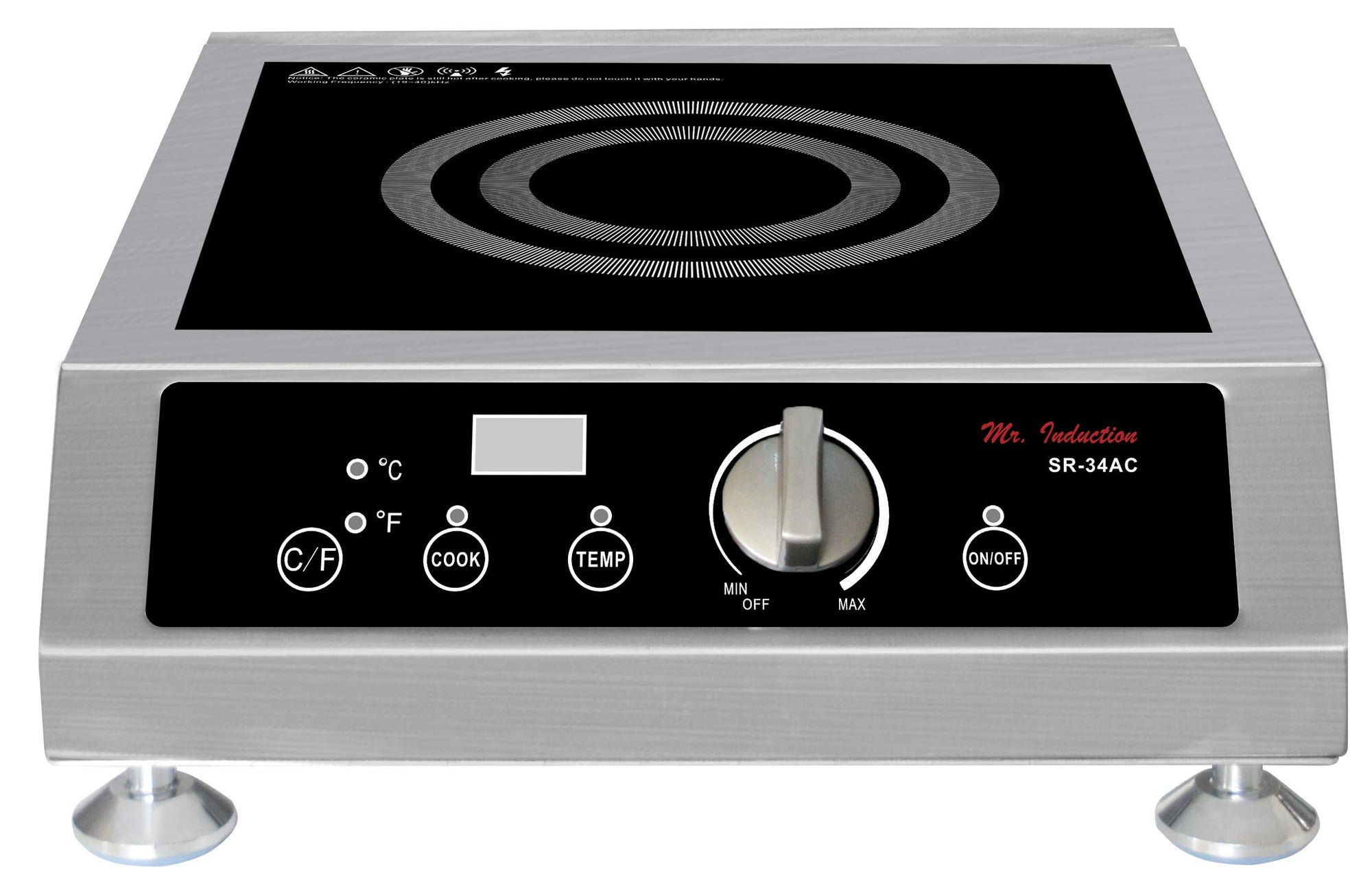 Mr. Induction SPT SR-34AC 3400W Commercial Countertop Range Induction Cooktop, Gray