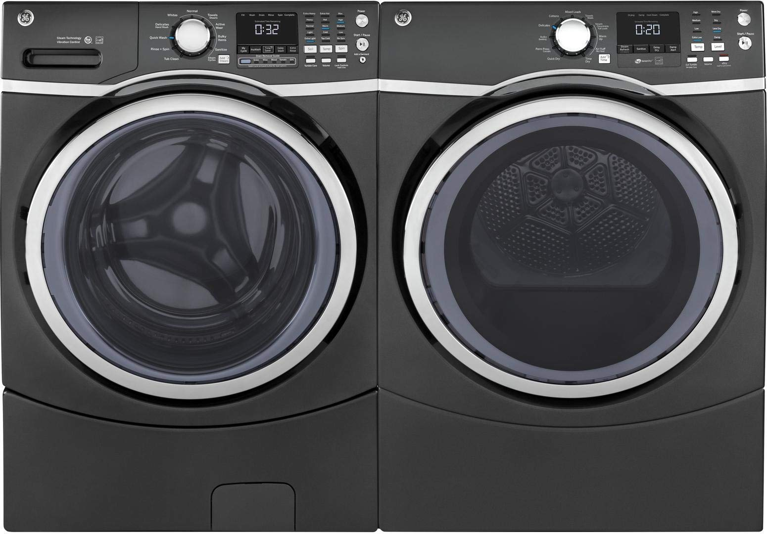 "GE Front Load Steam GFW450SPMDG 27"""" Washer with GFD45GSPMDG 27"""" Gas Dryer Laundry Pair in Gray"