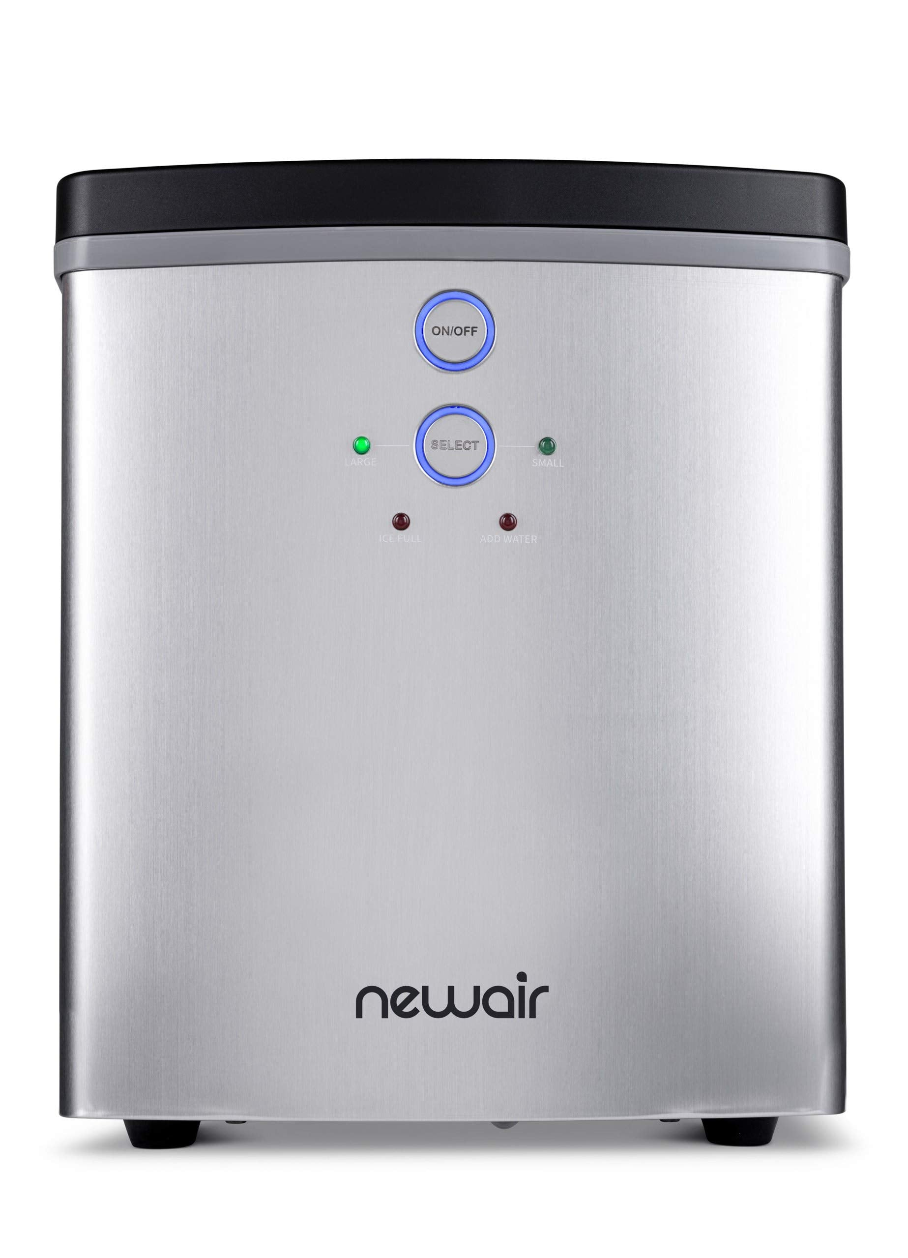 NewAir Portable Maker 33 lb 2 Ice Size Bullets Daily, Perfect Machine for Countertops, NIM033SS00, Stainless Steel