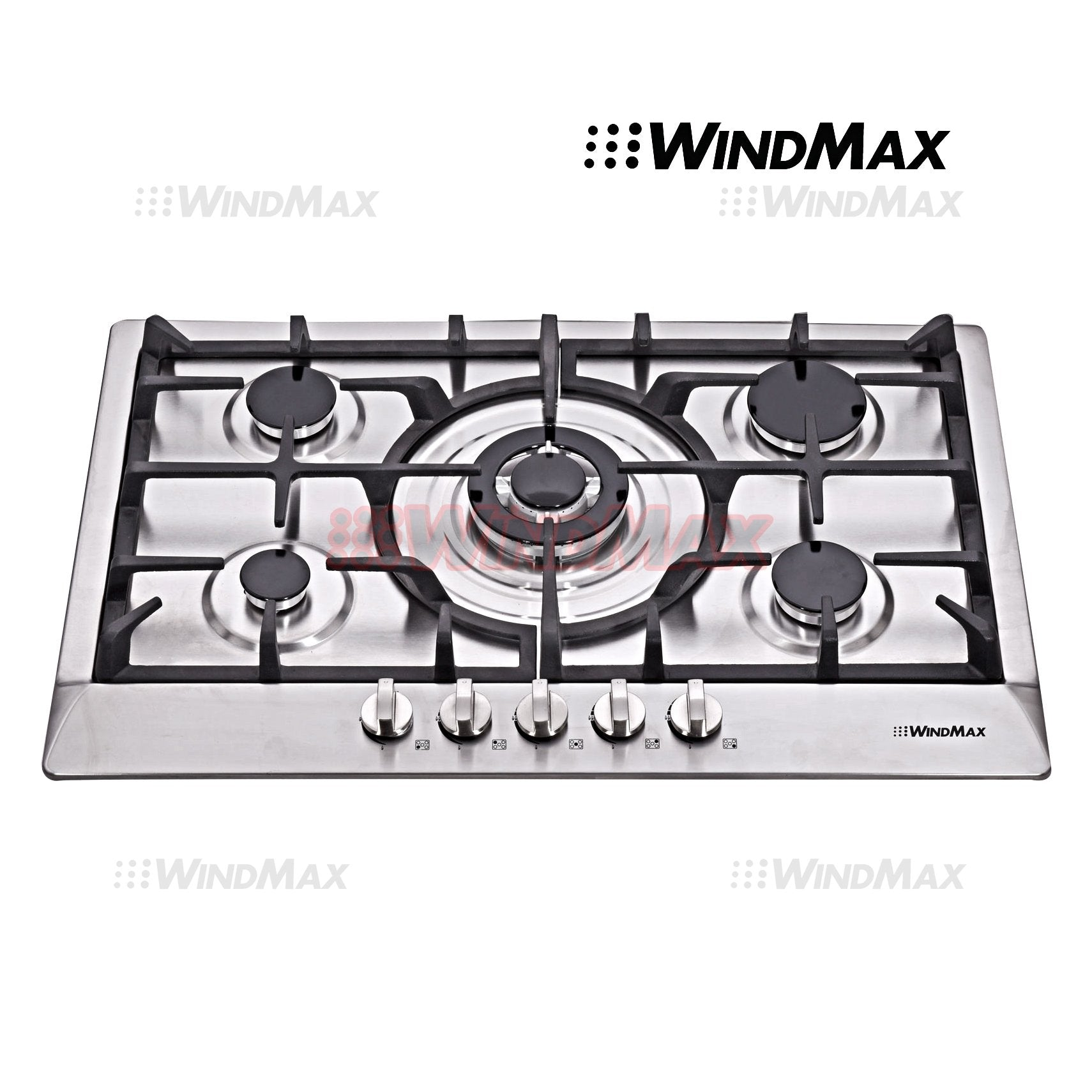 Windmax New 30 inch Stainless Steel 5 Burner Built-In Stoves NG LPG Gas Cooktop Cooker