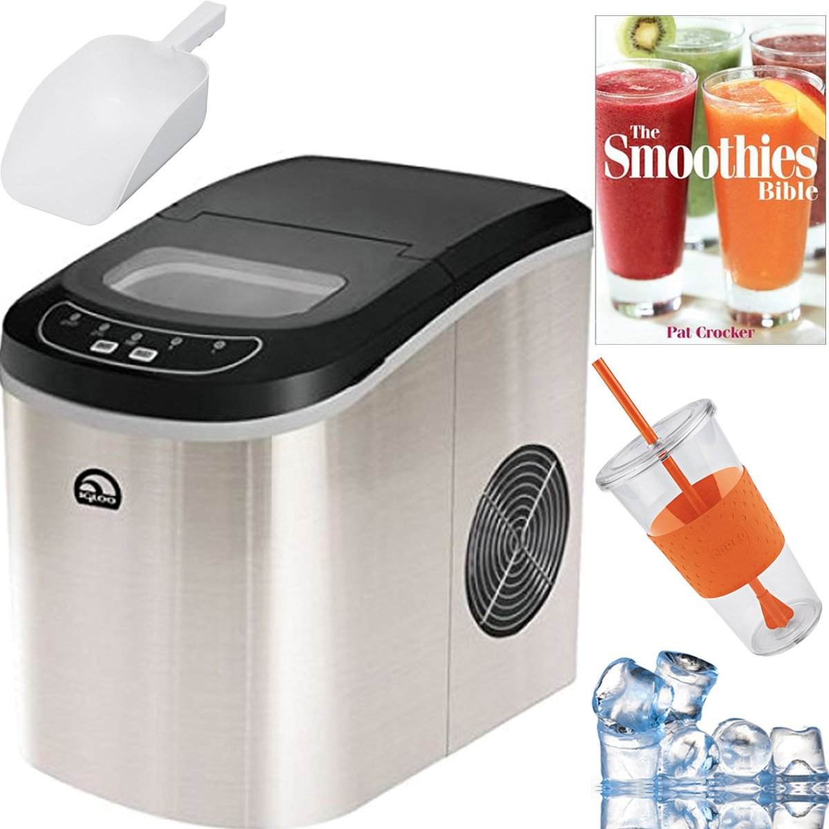 Igloo Compact Portable Ice Maker (Stainless Steel) Plus Smoothie Bible Bundle - ICE102ST
