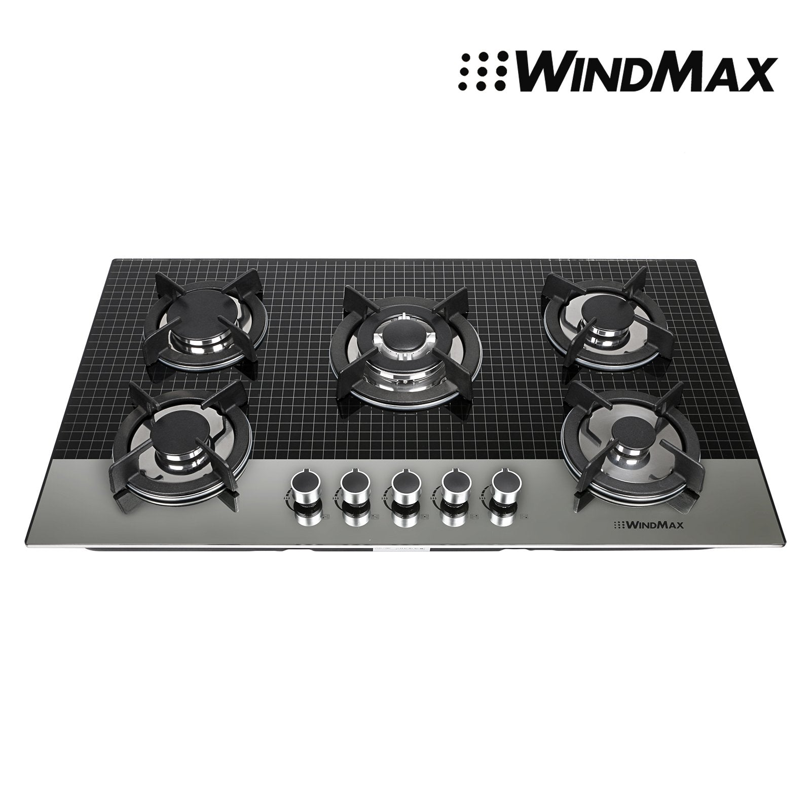 [US Seller,ship from CA,US ] Windmax EuroStyle 35.5 in. Coated Glass 5 Burners Built-In Stove NG Gas Cooktop Cooker